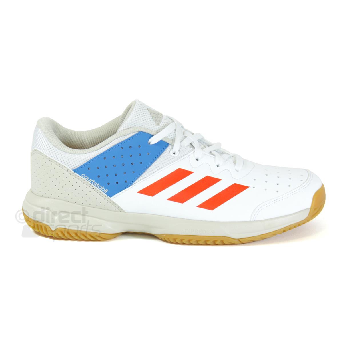 adidas Court Stabil Junior Court Shoes (White Orange) | Direct Squash