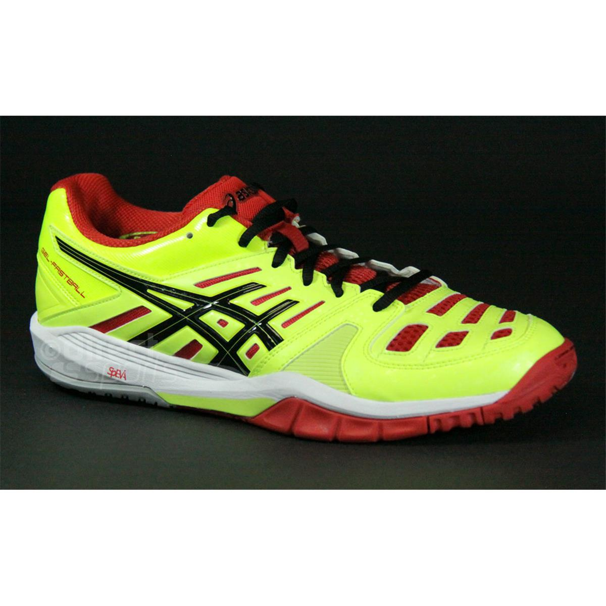 asics gel fastball mens court shoes flash yellow