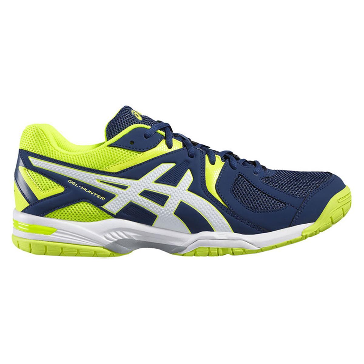 outlet na sprzedaż kolejna szansa całkiem fajne Asics Gel Hunter 3 Mens Court Shoes (Poseidon-White-Safety Yellow) | Direct  Squash
