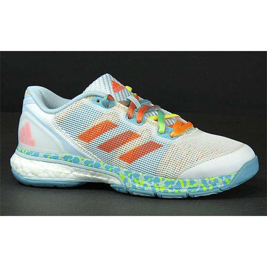 4f8f972b58f adidas adipower Stabil Boost II Womens Court Shoes (White-Vapour Blue-Ice  Blue