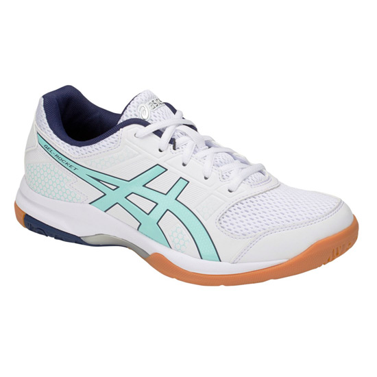 Asics Gel Rocket 8 Womens Court Shoes (White-Icy Morning)