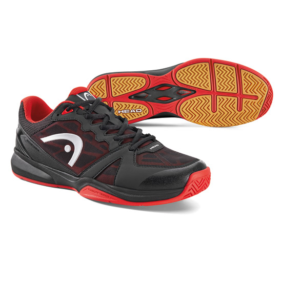 Revolt Mens Squash Shoes (Raven-Red