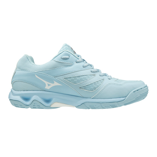 Mizuno Thunder Blade Womens Court Shoes (Cool Blue-White-Silver)