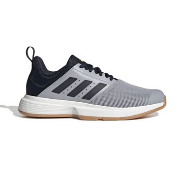 Adidas Essence Court Shoes (Halo Silver-Legend Ink-High-Res Yellow)